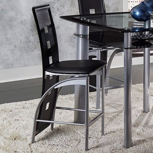 Contemporary Counter Height Stool with Full Length Chairback