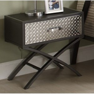 Contemporary Youth Night Stand with Diamond Plate Texture and Chrome Finish