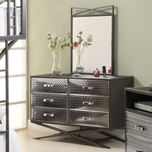 Contemporary Dresser and Mirror Combo with Diamond Plate Texture and Chrome Finish
