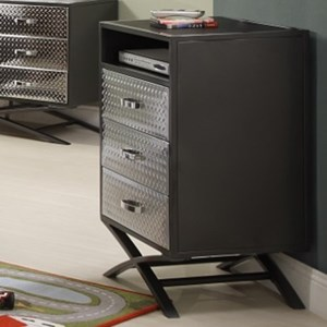 Contemporary Youth Media Chest with Chrome Finish