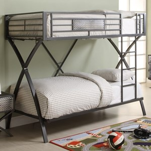 Contemporary Bunk Bed with Chrome Accents