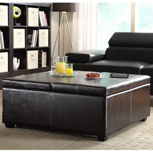 Contemporary Storage Ottoman with Tray Top