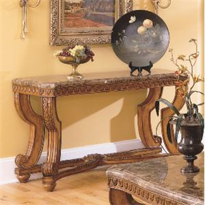 Traditional Burnished Brown Cherry & Marble Sofa Table