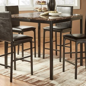 Casual Pub Table with Faux Marble Top