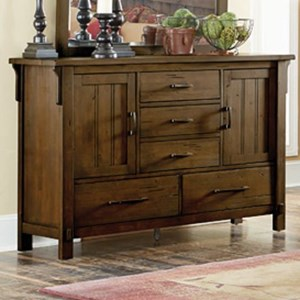 Mission 5-Drawer Dresser with Two Doors