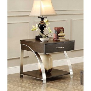 Contemporary End Table with Functional Drawer
