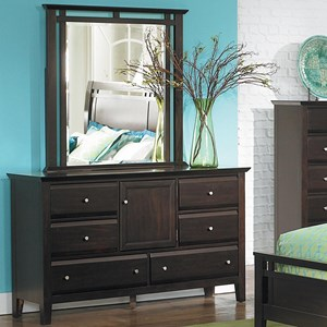 Casual 6-Drawer Dresser and Mirror with Storage Door