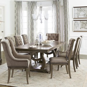 Transitional Dining Table Set with 8 Chairs