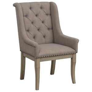 Transitional Upholstered Arm Chair with Button Tufted Back