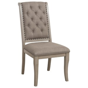 Transitional Side Chair with Button Tufting