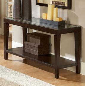 Glass Top Sofa Table w/ Shelf