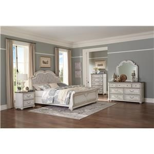 Antique White King Sleigh Upholstered Bed