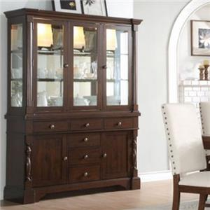 Buffet & Hutch with Mirror Back and Glass Doors