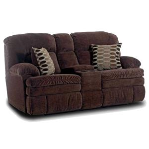 Comfortable Console Loveseat with Reclining Chairs