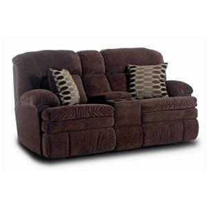 Casual Console Love Seat with 2 Accent Pillows