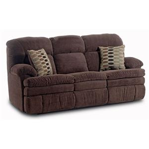 Casual Double Reclining Sofa with 2 Accent Pillows