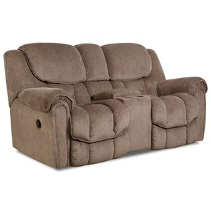 Casual Reclining Loveseat with Storage in Arm