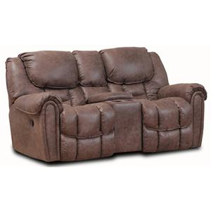 Rocker Power Reclining Love Seat with Defined Headrest and Bucket Seat