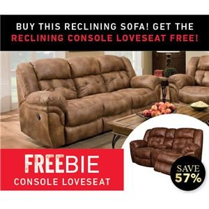 Reclining Sofa with Freebie Console Loveseat