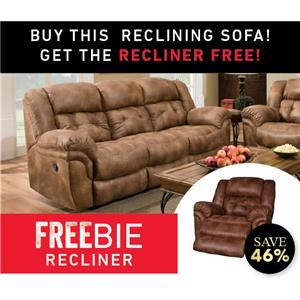 Reclining Sofa with Freebie Recliner