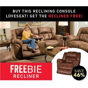Reclining Console Loveseat with Freebie Recliner