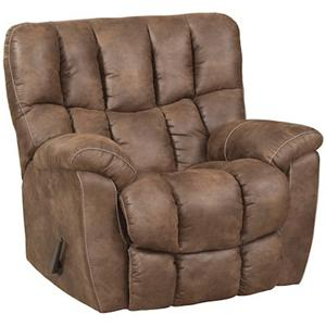 Casual Power Rocker Recliner with Overstuffed Biscuit Back Design
