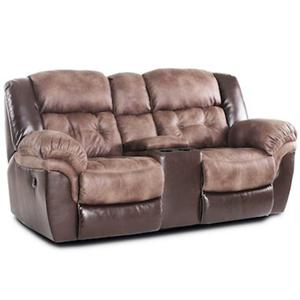 Casual Power Reclining Loveseat with Console