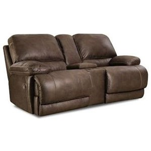 Casual Power Reclining Console Loveseat with Full Chaise Cushion
