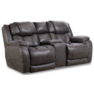 Casual Style Power Reclining Console Loveseat