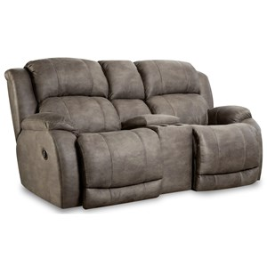 "Power Reclining Console Loveseat with ""Scoop"" Seating System"
