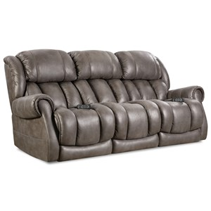 Casual Power Reclining Sofa with Rolled Padded Arms
