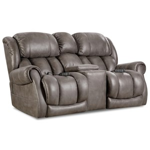 Casual Power Reclining Console Loveseat with Cup Holders