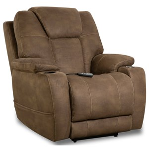 Casual Heat/Cool Power Recliner with Cup Holders