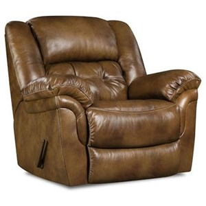 Casual Rocker Recliner with Tufted Back