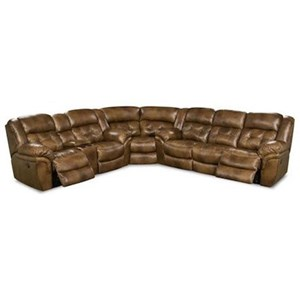 Casual Super Wedge Power Reclining Sectional with Pad-over Chaise Support