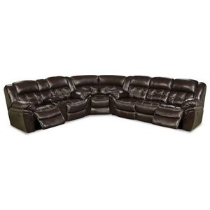 Casual Super Wedge Reclining Sectional with Pad-over Chaise Support