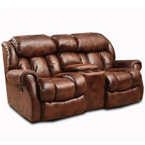Casual Rocking Recliner Loveseat with Cup Holders