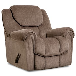 Casual Power Rocker Recliner with Pillow Arm