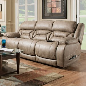 Casual Power Reclining Sofa with Power Headrests and Lumbar