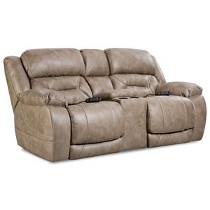 Casual Power Reclining Console Loveseat with Power Headrests
