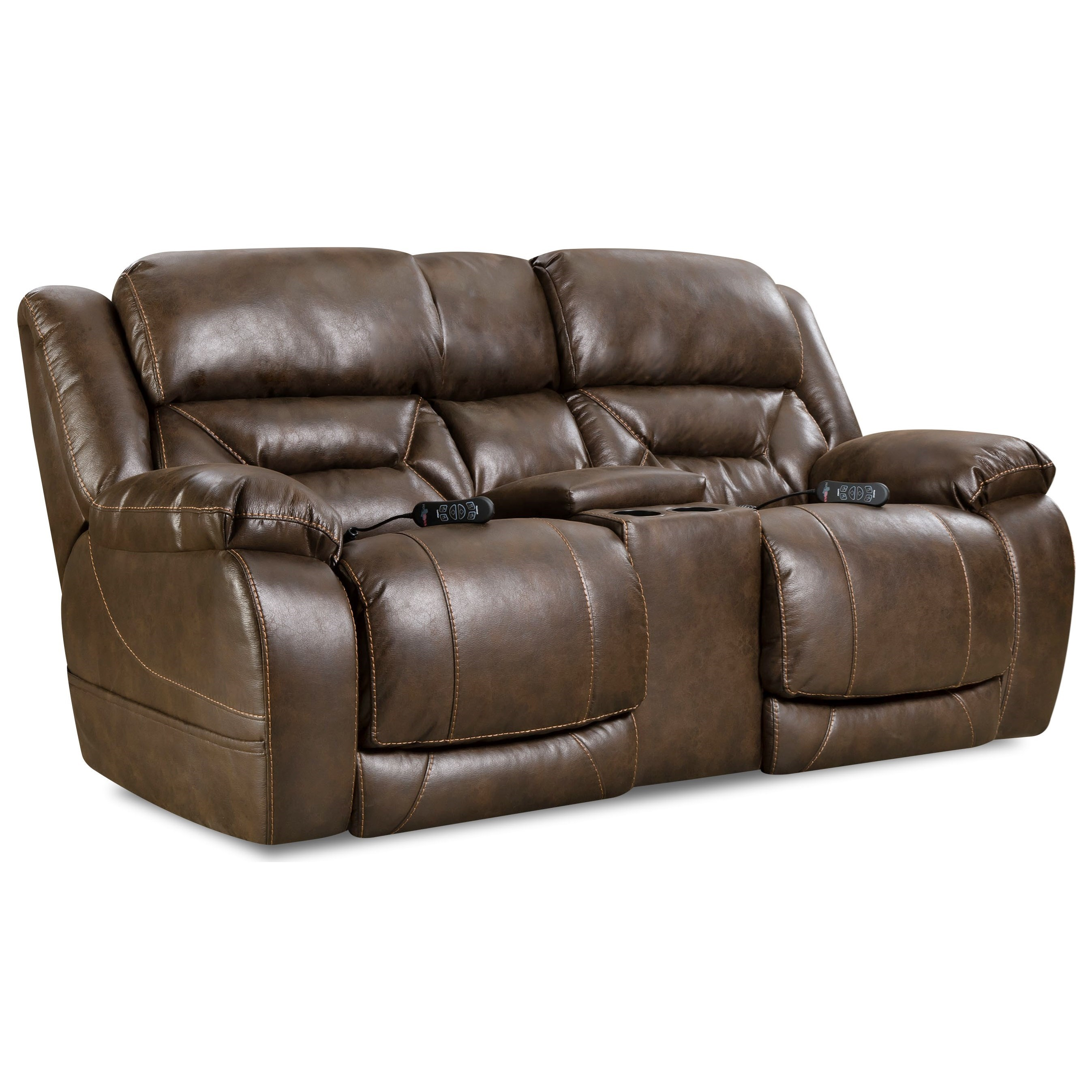 Enterprise Power Reclining Console Loveseat by HomeStretch at Rife's Home Furniture