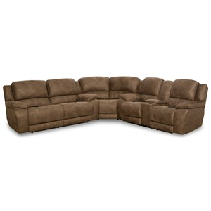 Casual L-Shaped Power Reclining Sectional