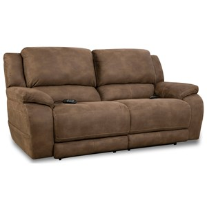 Casual Double Reclining Sofa with Pillow Top Arms