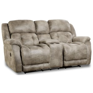 Casual Rocking Console Loveseat with Cup Holders