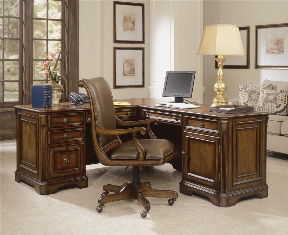 """Brookhaven Executive """"L"""" Return Desk by Hooker Furniture at Baer's Furniture"""