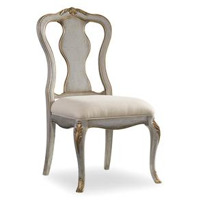 Distressed Gray Desk Chair with Gilded Edging