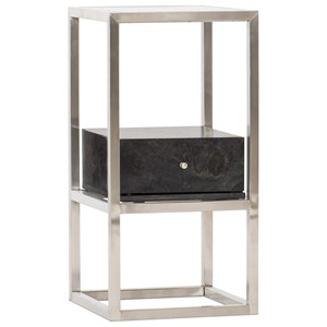 Contemporary Accent End Table with Tempered Glass Top
