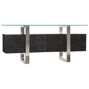 Contemporary Console with Floating Tempered Glass Top