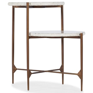 Contemporary Skinny Accent End Table with Marble Top