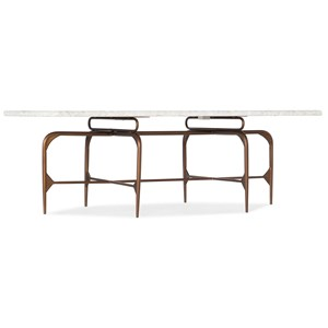 Contemporary Skinny Rectangle Cocktail Table with Marble Top